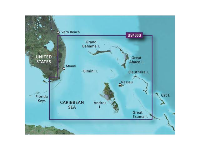 Garmin BlueChart VUS400S Walkers Cay to Exuma Sound Marine Map