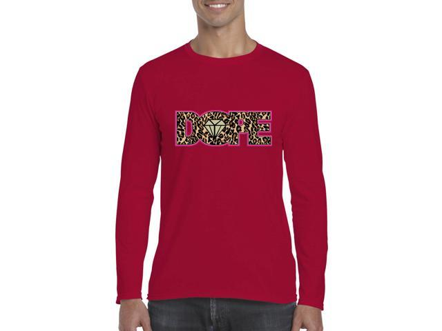 Artix Dope Diamond Cheetah Leopard Softsyle Long Sleeve Men's T-Shirt Tee Large Cherry Red