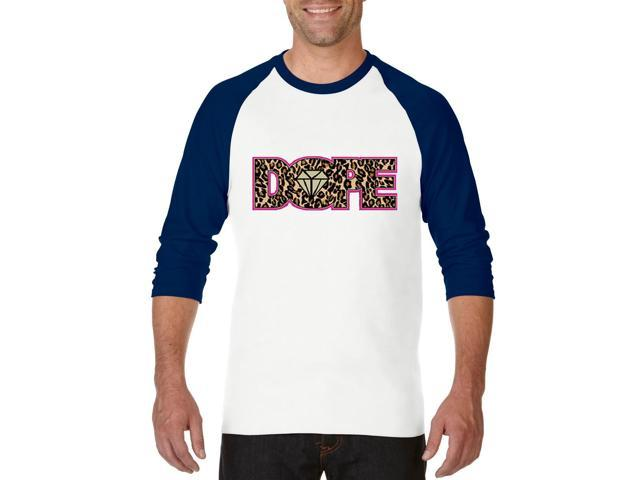 Artix Dope Diamond Cheetah Leopard Unisex Raglan Sleeve Baseball T-Shirt Small White Navy