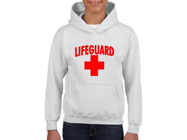 Artix Lifeguard Red Cross Unisex Hoodie For Girls and Boys Youth Kids Sweatshirt Clothing Youth X-Small White