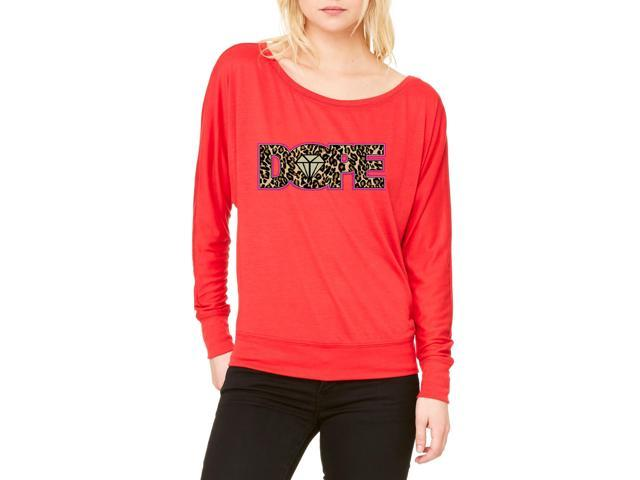 Artix Dope Diamond Cheetah Leopard Women's Flowy Long Sleeve Off Shoulder Tee Clothes X-Large Red