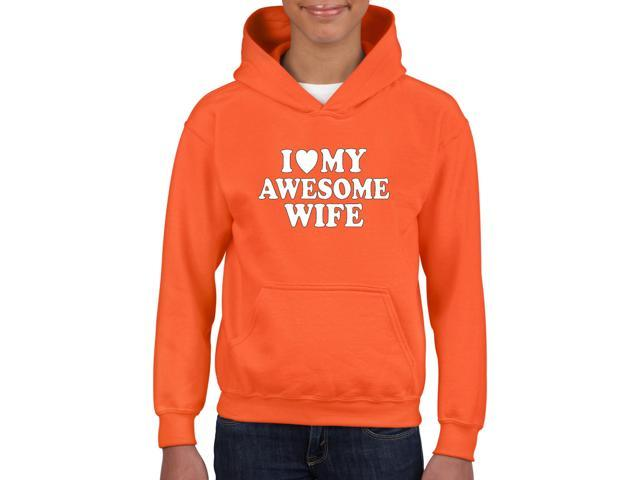 Artix I love My Awesome Wife Unisex Hoodie For Girls and Boys Youth Kids Sweatshirt Clothing Youth X-Small Orange