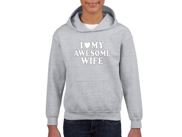 Artix I love My Awesome Wife Unisex Hoodie For Girls and Boys Youth Kids Sweatshirt Clothing Youth X-Small Sport Grey