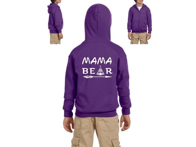 Artix Mama Bear Native Indian Pattern Heavy Blend Youth Full-Zip Hooded Sweatshirt Youth Small Purple