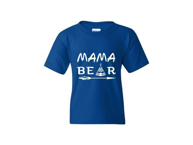 Artix Mama Bear Native Indian Pattern Unisex Youth Kids T-Shirt Tee Clothing Youth Small Royal Blue