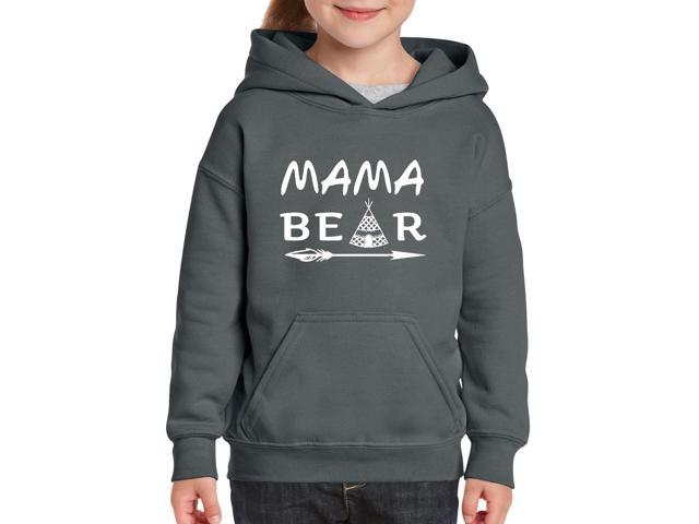 Artix Mama Bear Native Indian Pattern Unisex Hoodie For Girls and Boys Youth Kids Sweatshirt Clothing Youth X-Large Charcoal