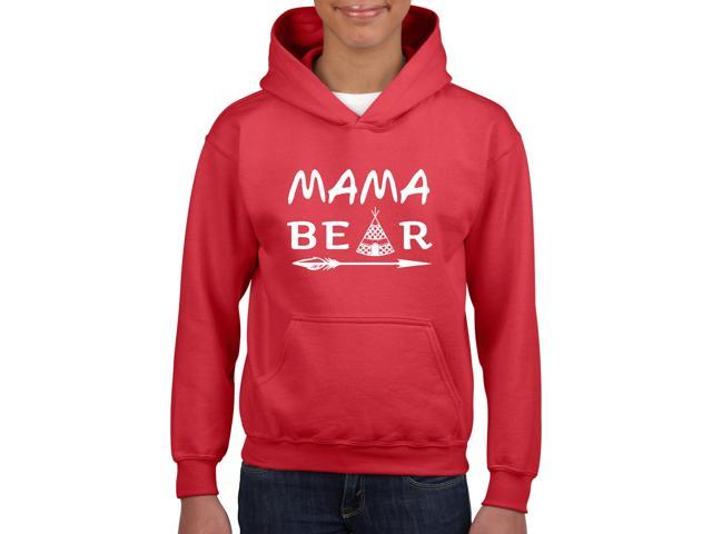Artix Mama Bear Native Indian Pattern Unisex Hoodie For Girls and Boys Youth Kids Sweatshirt Clothing Youth X-Large Red