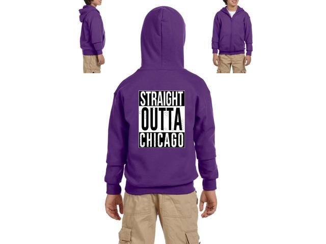 Artix Straight Outta Chicago Heavy Blend Youth Full-Zip Hooded Sweatshirt Youth Small Purple