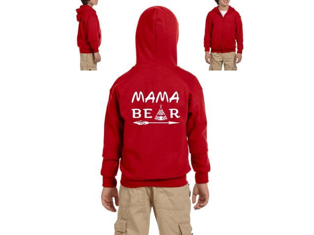 Artix Mama Bear Native Indian Pattern Heavy Blend Youth Full-Zip Hooded Sweatshirt Youth Small Red