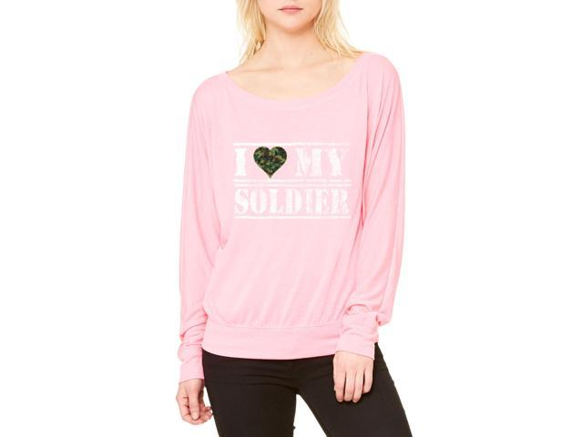 Artix I Love My Soldier Women's Flowy Long Sleeve Off Shoulder Tee Clothes Large Neon Pink