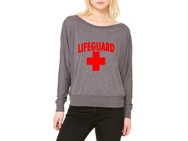 Artix Lifeguard Red Cross Women's Flowy Long Sleeve Off Shoulder Tee Clothes Large Dark Grey Heather