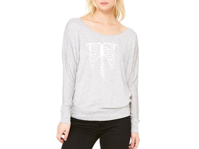 Artix Halloween White Skeleton Costume Women's Flowy Long Sleeve Off Shoulder Tee Clothes X-Large Athletic Heather-Grey