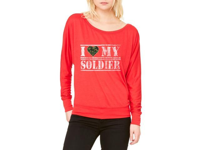 Artix I Love My Soldier Women's Flowy Long Sleeve Off Shoulder Tee Clothes X-Small Red