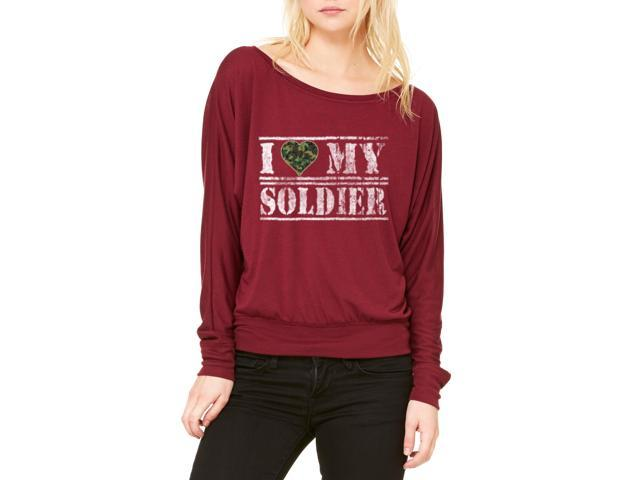 Artix I Love My Soldier Women's Flowy Long Sleeve Off Shoulder Tee Clothes X-Large Maroon