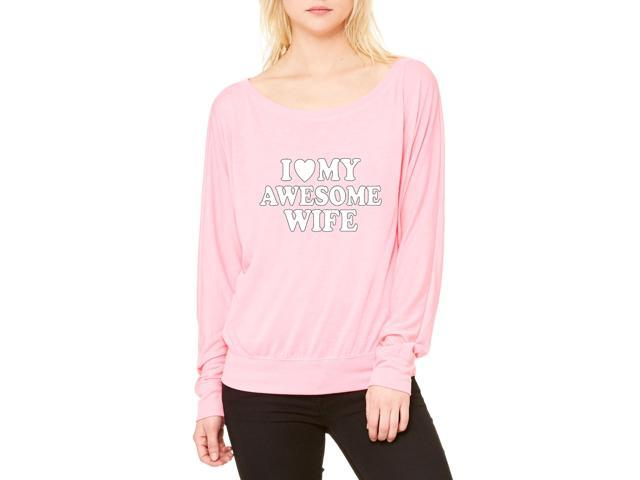 Artix I love My Awesome Wife Women's Flowy Long Sleeve Off Shoulder Tee Clothes Medium Neon Pink