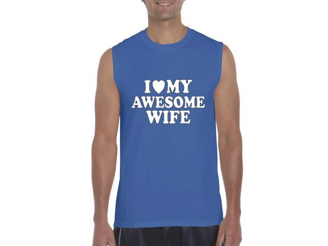 Artix I love My Awesome Wife Ultra Cotton Sleeveless Men's T-Shirt Large Royal Blue
