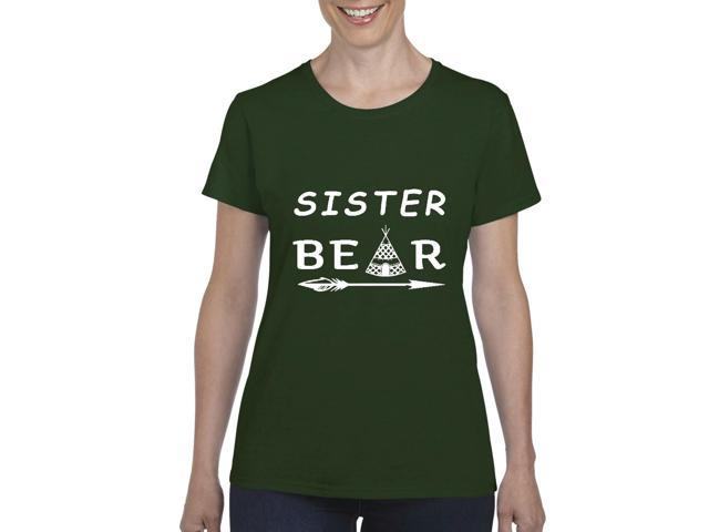 Artix Sister Bear Native Indian Support Family Matching Couples w Mama Papa Sister Bear Gift 4 Best Friend Christmas Fashion Women's T-shirt Tee Clothes