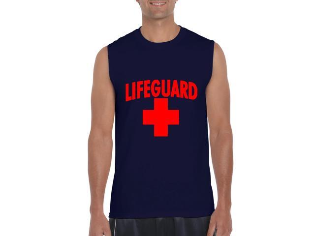 Artix Lifeguard Red Cross Ultra Cotton Sleeveless Men's T-Shirt Large Navy Blue