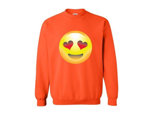 Artix Emoji Smiling Face w Heart-Shaped Eyes Unisex Crewneck Sweatshirt Large Orange