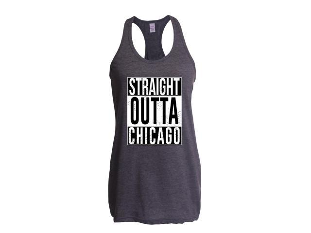 Artix Straight Outta Chicago Women's Next Level Ladies' Ideal Racerback Tank Clothes XX-Large Heather Charcoal