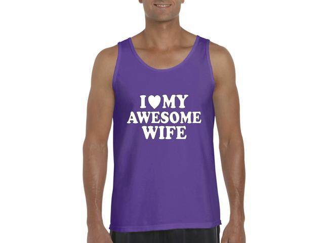 Artix I love My Awesome Wife Men's Tank Top Large Purple