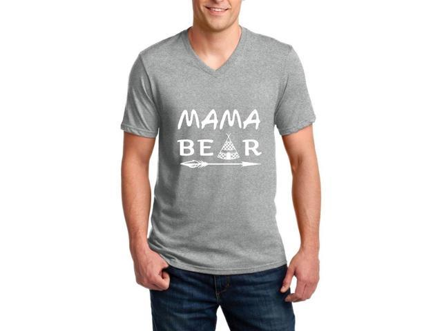 Artix Mama Bear Native Indian Pattern Ringspun Men V-Neck T-Shirt XXX-Large Charcoal