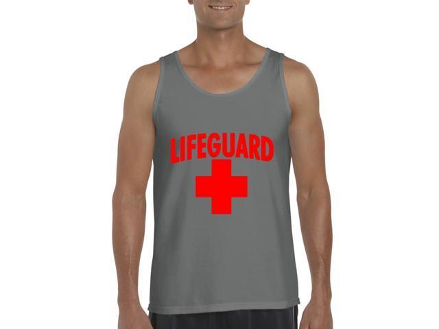 Artix Lifeguard Red Cross Men's Tank Top Large Charcoal