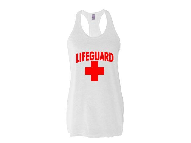 Artix Lifeguard Red Cross Women's Next Level Ladies' Ideal Racerback Tank Clothes Large White