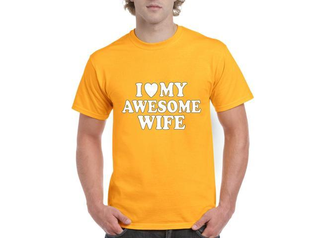 Artix I love My Awesome Wife Men's T-Shirt Tee Large Gold