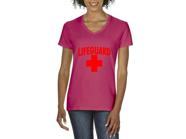 Artix Lifeguard Red Cross Women's V-Neck T-Shirt Tee Clothes Medium Heliconia Pink