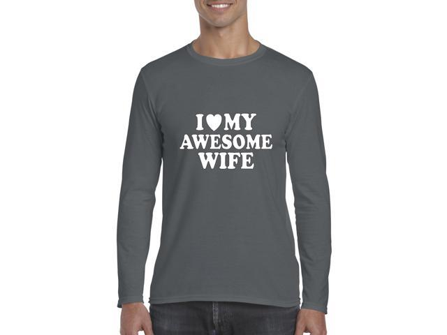 Artix I love My Awesome Wife Softsyle Long Sleeve Men's T-Shirt Tee XX-Large Charcoal