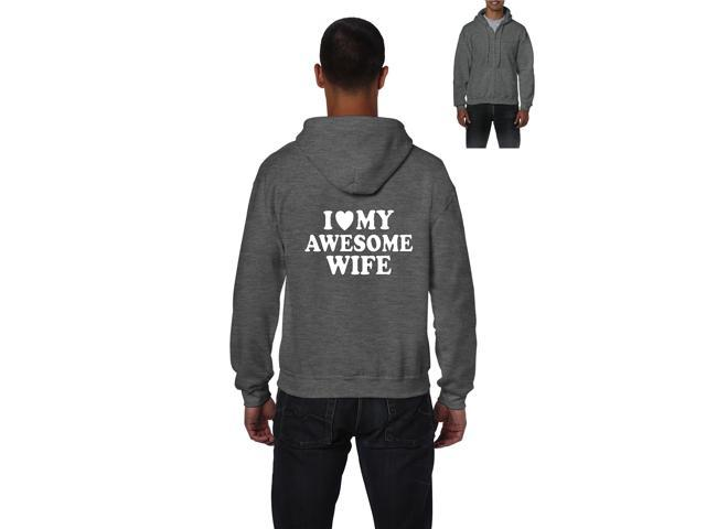 Artix I love My Awesome Wife Full-Zip Men's Hoodie XX-Large Sport Grey