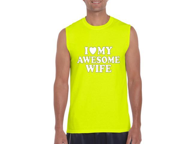 Artix I love My Awesome Wife Ultra Cotton Sleeveless Men's T-Shirt XX-Large Safety Yellow