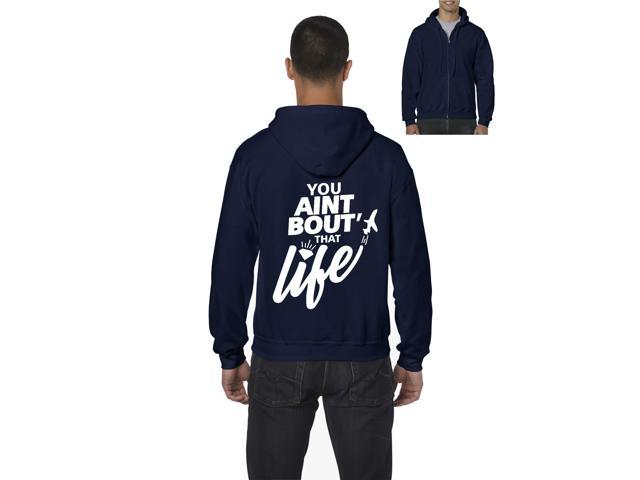 Artix You Aint Bout' that Life Full-Zip Men's Hoodie Medium Navy Blue
