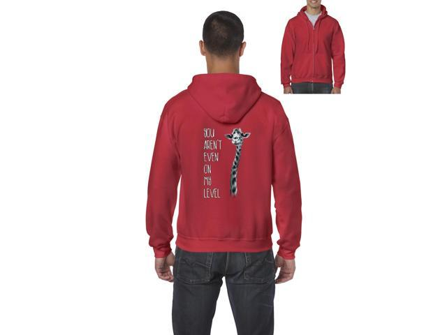 Artix You Aren t Even On My Level Giraffe Full-Zip Men's Hoodie Medium Red
