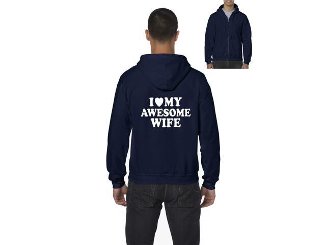 Artix I love My Awesome Wife Full-Zip Men's Hoodie XXX-Large Navy Blue