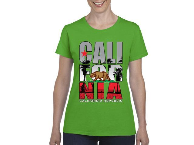 Artix California Republic Beach Life Women's T-shirt Tee Clothes XX-Large Irish Green