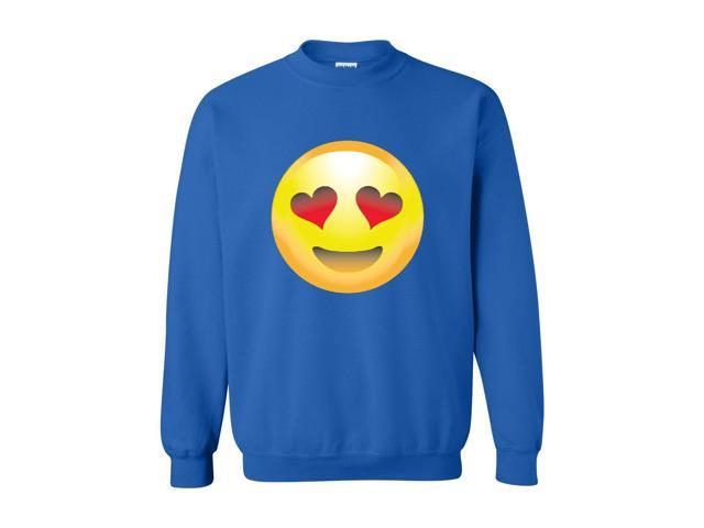 Artix Emoji Smiling Face w Heart-Shaped Eyes Unisex Crewneck Sweatshirt Large Royal Blue