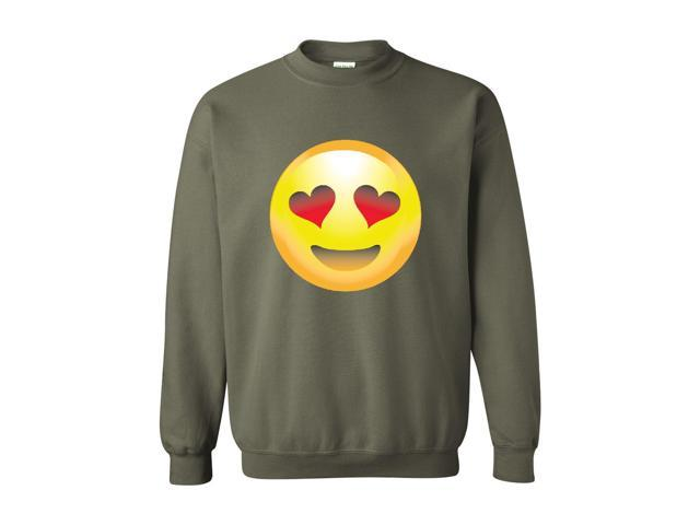 Artix Emoji Smiling Face w Heart-Shaped Eyes Unisex Crewneck Sweatshirt Small Military Green