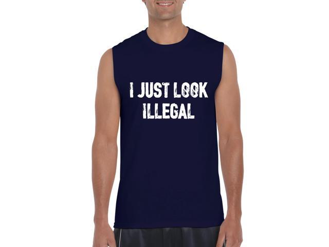 Artix I Just Look Illegal Mexican Funny Immigrants Hispanic Pride Gift for Halloween Best Friend Awesome Incredible High Party Ultra Cotton Sleeveless Men's T-Shirt