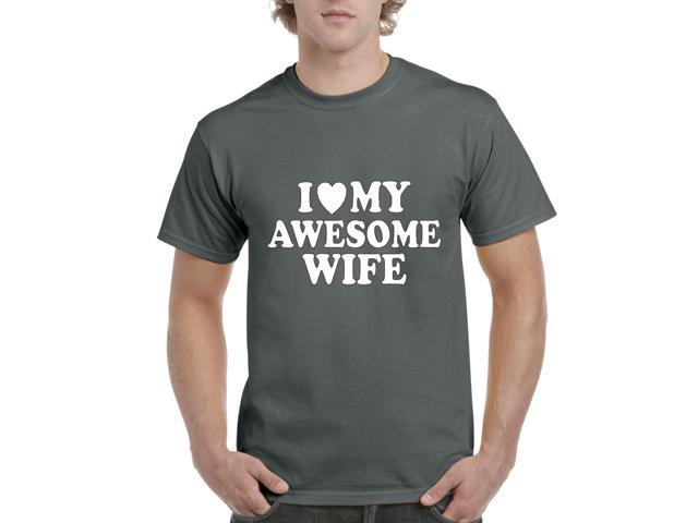 Artix I love My Awesome Wife Men's T-Shirt Tee Small Charcoal