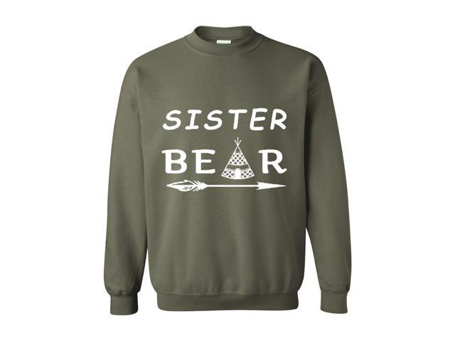 Artix Sister Bear Native Indian Support Family Matching Couples w Mama Papa Sister Bear Gift 4 Best Friend Christmas Fashion Unisex Crewneck Sweatshirt