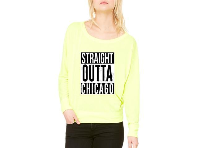 Artix Straight Outta Chicago Women's Flowy Long Sleeve Off Shoulder Tee Clothes Medium Neon Yellow