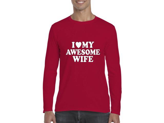 Artix I love My Awesome Wife Softsyle Long Sleeve Men's T-Shirt Tee Large Cherry Red