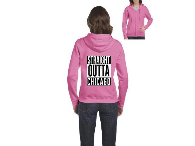 Artix Straight Outta Chicago Full-Zip Women's Hoodie Clothes Small Azalea Pink