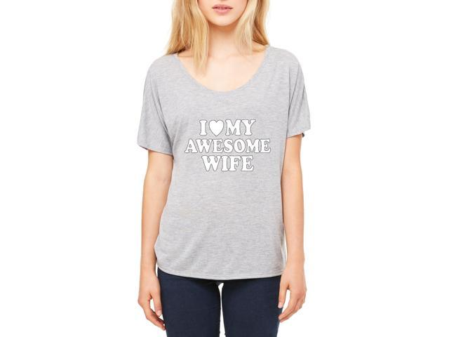 Artix I love My Awesome Wife Women's Slouchy T-Shirt Clothes X-Large Athletic Heather-Grey