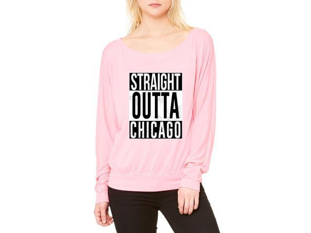 Artix Straight Outta Chicago Women's Flowy Long Sleeve Off Shoulder Tee Clothes X-Large Neon Pink