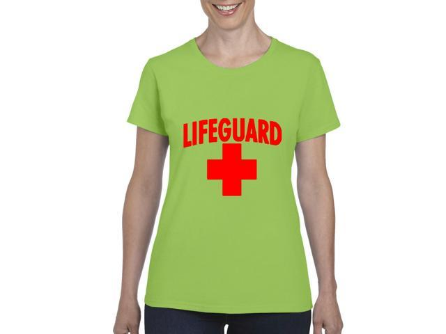 Artix Lifeguard Red Cross Women's T-shirt Tee Clothes Large Lime Green