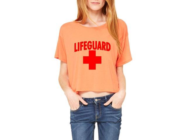 Artix Lifeguard Red Cross Women's Flowy Boxy T-Shirt Clothes Large Coral Pink