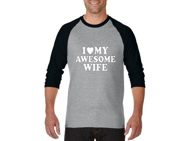 Artix I love My Awesome Wife Unisex Raglan Sleeve Baseball T-Shirt XX-Large Heather Grey Black